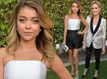 Modern (monochrome) Family! Sarah Hyland flashes pins in two-tone jumpsuit while costar Julie Bowen looks chic in floral blazer at wedding episode screening