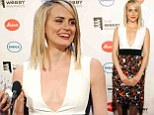 Taking the plunge: Taylor Schilling wore a revealing dress as she attended the 2014 Webby Awards at Cipriani Wall Street in New York City on Monday