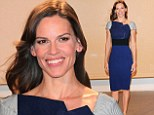 C'est magnifique! Hilary Swank is resplendent in royal blue as she knocks it out of the park for the second day in a row during Cannes photocall