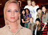 Glowing in green: Uma Thurman radiated as she attended the Ralph Lauren Fall 14 Children's Fashion Show In Support Of Literacy at the New York Public Library in New York City on Monday
