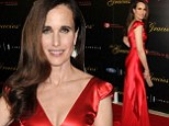 She's still got it! Andie MacDowell, 56, looks a fraction of her age in plunging red gown as she steps out at Gracie Awards
