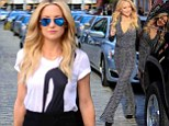 Golden girl Kate Hudson transforms into seventies bombshell with bell bottom jumpsuit after slipping out of chic pencil skirt for a night at the theatre