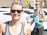 Right back to the grind! Super slim and toned Naomi Watts sweats it out in cardio class... just days after wowing on the red carpet at Cannes