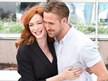 Firm friends: Ryan Gosling and Christina Hendricks support one another at a photo call for new movie Lost River in Cannes on Tuesday