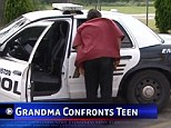 'What did you do?!' The teenagers furious grandmother catches up with him as he sits in the back of the police car after being handed over by his mother