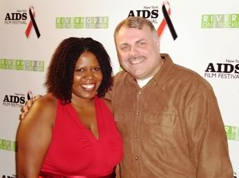 Sonya Lockett, Vice President of Black Entertainment Television, with filmmaker and activist Wolfgang Busch on World AIDS Day 2007.
