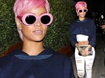 Rocking her new look: The 26-year-old Pour It Up singer poured on the pink accessories for her dinner in Santa Monica on Wednesday evening