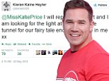 Pleading for forgiveness: Kieran Hayler has broken his silence for the first time since it was revealed he cheated on his pregnant wife Katie Price