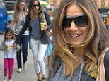 On her toes! Sarah Jessica Parker enjoys healthy smoothie while keeping up with daughters in green trainers