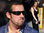 Someone's made an effort! A scruffy Adam Sandler is upstaged by his glamorous wife Jackie as they arrive to Blended premiere