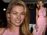 She's a fairytale pink-cess! Jessica Hart stuns in rose floor length gown at Roberto Cavalli's Cannes yacht party