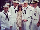 Ahoy there! Hilaria Baldwin is flanked by a sea of hunky sailors as she celebrates Fleet Week in New York
