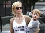 Her little man! January Jones' son Xander looked almost too big to carry as he headed to lunch with his famous mom in Los Feliz, California