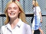 Feeling blue? Elle Fanning wears stylish light navy skirt to Jimmy Kimmel appearance