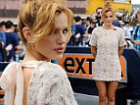 Bellarina: 16-year-old actress Bella Thorne wore a pretty blush white micro-mini dress and sky high nude-toned heels to her interview with Extra's correspondent Mario Lopez at Universal Studios in Hollywood on May 21