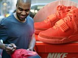 """While doing a little pre-wedding shopping in Paris yesterday, Kanye was stopped by a fan to autograph a pair of Air Yeezys. He consented (!) and then, mid-signature, took a second to point out that the sneakers were actually fake. But, because Kanye is humble and generous, he said """"that's fine though,"""" and finished the autograph as the shocked fan stood by, probably processing the fact that he likely paid thousands for a pair of fakes. Now he's got Kanye's signature on them, so maybe it evens out in the end?"""
