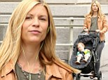 Multitasking momma! Clare Danes makes the most of baby Cyrus' nap to catch up on business and exercise
