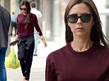 It's not any sight, it's Victoria Beckham food shopping in M&S! Designer carries bulging bag for life as she leaves supermarket in black stilettos