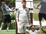 England players relax on the golf course in Portugal... but which of the Three Lions squad gets fooled by an exploding ball?