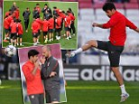Ready? Diego Costa takes part in light training session with Atletico Madrid ahead of Champions League final