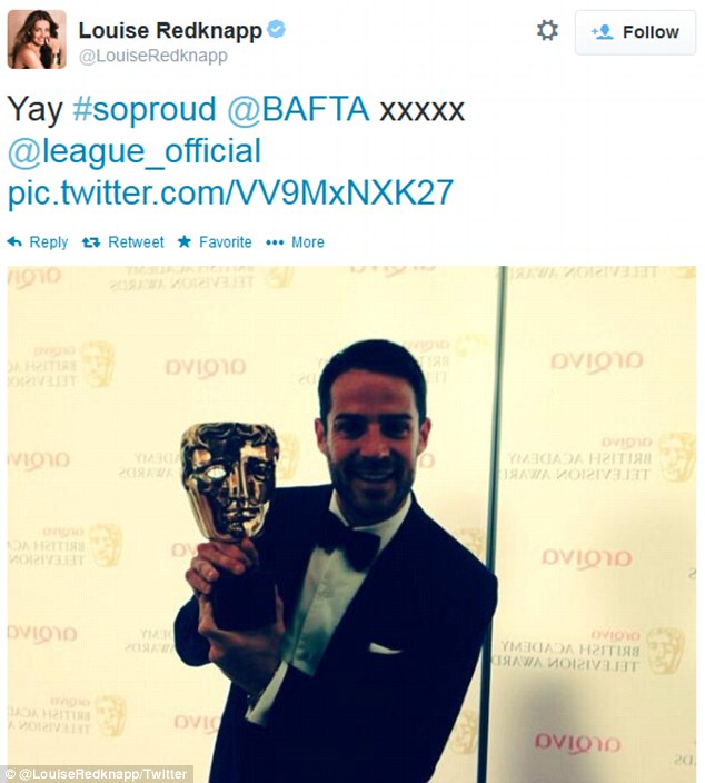 Proud: Louise Redknapp tweeted about her husband's BAFTA
