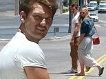 Strolling In Time! Alex Pettyfer shows off toned arms in tight T-Shirt as he enjoys day off with model girlfriend Marloes Horst