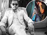 Can't keep up: Scott Disick shares picture of his club owner friend Scott Sartiano, 39, cramped on plane seat holding sick bag after Kimye wedding bash