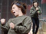 Harry Styles' curls take centre stage as One Direction perform at BBC Radio 1's Big Weekend ... after Lily Allen claims he uses hair extensions