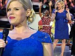 Megan Hilty highlights her growing baby bump in a vivacious blue dress while performing in the Memorial Day Concert in Washington Sunday