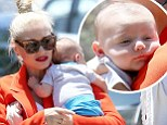 Mama's boys: Gwen Stefani, 44, seen here with 12-week-old Apollo, went out with her brood of boys to a friends house to celebrate Memorial weekend on Sunday