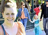Amy Adams and fiance Darren Le Gallo enjoy a day at Disneyland with daughter Aviana