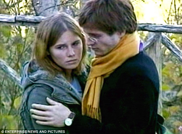 Emotions: Knox pointed out that her reactions while being questioned, such as being embraced by co-defendant Raffaele Sollecito (pictured), show she was being completely open