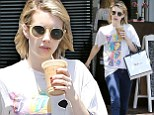 Start Me Up! Emma Roberts grabs herself a caffeine boost as she does a spot of shopping in a Rolling Stones T-shirt