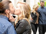 Feeling the romance: Brandon jenner and his wife Leah Felder kissed under the glistening rays in Paris, France on Sunday