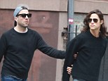 Rare display: The 36-year-old actor was pictured holding onto his rumoured boyfriend's arm as they strolled through soho with friends ahead of their meal