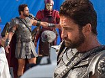 Manning up: Gerard Butler was spotted in full Roman costume shooting scenes for the $150 blockbuster Gods of Egypt