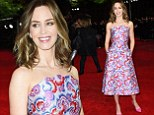 Emily Blunt looks radiant in vibrant print frock as she attends 6.45am London premiere on epic Edge Of Tomorrow promo tour