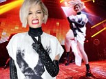 Can't hand it to you this time! Rita Ora teams strange long white tunic with studded leather gloves for energetic set at NRJ Music Tour in Paris