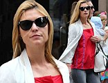 Make-up free Claire Danes dresses down in skinny jeans and baggy red top as she runs errands in New York