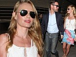 Traveling is for lovers! Michael Polish and Kate Bosworth can't keep their eyes off of each other while walking through LAX