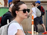 Olivia Wilde shows off her post-pregnancy figure as she goes on a family stroll with Jason Sudeikis and baby Otis