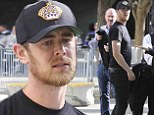 Facial hair: Colin Hanks wore his playoffs beard on Monday to watch the Los Angeles Kings play the Chicago Blackhawks in a hockey match