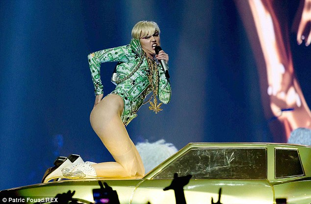 A bit cheeky: Miley gets daring with her stage wardrobe during the German concert