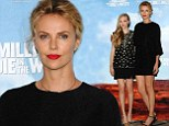 Charlize Theron puts her toned legs on display in classy shift dress as Amanda Bynes dazzles in embellished mini dress at film photocall