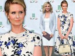Amy Poehler glams up in lacy frock while Cynthia Nixon sports pretty floral number for New York picnic