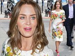 What jet lag? Emily Blunt steps out in pretty floral dress ... the morning after whirlwind three-country premiere tour for Edge Of Tomorrow