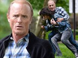 He's still got it! Ed Harris, 63, jumps over fence and tackles younger co-star while filming The Adderall Diaries