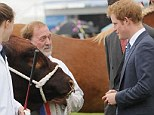 Fright night: Prince Harry maintains a safe distance from the beady-looking Red Poll bull while he chats to its owner during a visit to the Suffolk Show