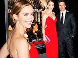 Emily Blunt wows in stunning red gown as she and Tom Cruise make their final stop on whirlwind three-country Edge Of Tomorrow premiere marathon in 24 hours