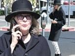 Dotty Diane Keaton dons b&w polka-dot trousers strolling through West Hollywood